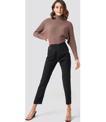 trendyol waist detailed trousers - black