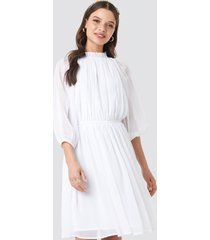 na-kd boho high neck elastic waist puff dress - white