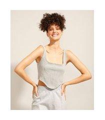 regata cropped corset alça larga decote reto cinza mescla