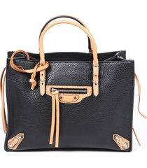 balenciaga papier black leather satchel crossbody bag beige/black sz: s