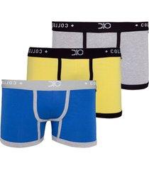 kit 3pçs cueca boxer glam dionisio collection cinza/preto