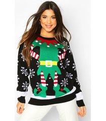 lange elf outfit kerst trui, black