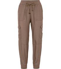 pantaloni con fondo e cinta elstici in tencel™ lyocell (marrone) - rainbow