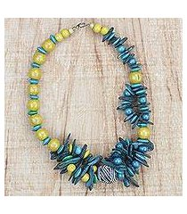 coconut shell and wood beaded necklace, 'lively' (ghana)