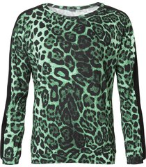 geisha 93647-20 530 top round neck aop with velvet tape green combi