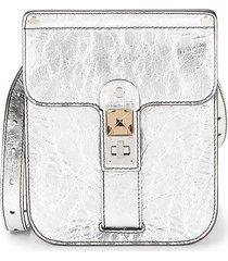 proenza schouler women's metallic leather messenger bag - silver