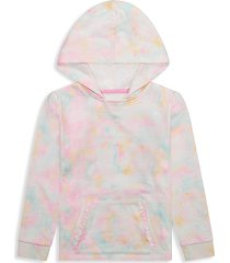 andy & evan little girl's tie-dyed cotton-blend terry hoodie - tie dye pink - size 6x