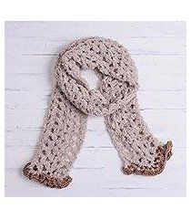 alpaca blend scarf, 'oyster elegance' (peru)