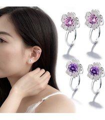 cute cherry blossom no piercing orecchini orecchini abbaglianti di cartilagine con fiore di zirconia per le donne