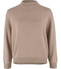 granola cashmere silk paillette long sleeve mockneck sweater