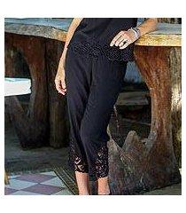 rayon pants, 'onyx padma flower' (indonesia)