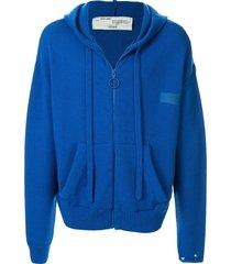 off-white wool knit logo hoodie - blue
