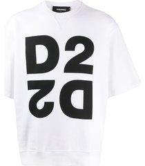 dsquared2 mirrored d2 short-sleeve sweatshirt - white