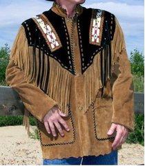 men western fringe jackets, men tan and black fringe jacket, men fringe jackets