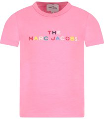 little marc jacobs pink t-shirt for girl with colorful logo