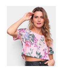 camiseta lança perfume estampada cropped feminina