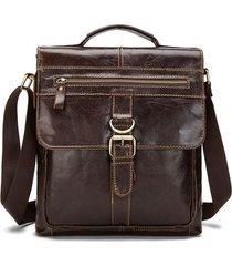 borsa casuale del cuoio genuino della borsa del sacchetto del crossbody del messaggero del caffè di affari degli uomini