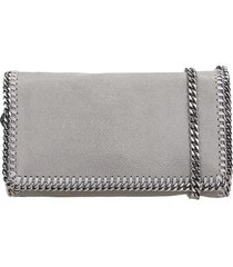 stella mccartney falabella shoulder bag in grey polyester