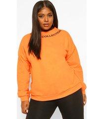 plus sweater met halsopdruk, orange