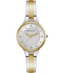 classic two-tone stainless steel & crystal bangle bracelet watch