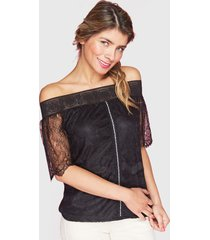 blusa tentation encaje negro - calce regular
