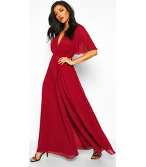 chiffon angel sleeve wrap maxi bridesmaid dress, berry
