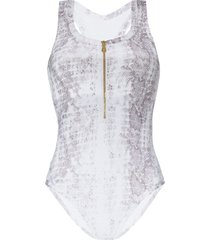 heidi klein zip-up snake-print swimsuit - white