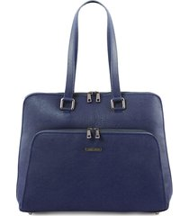 tuscany leather tl141630 lucca - borsa business tl smart in pelle morbida per donna blu scuro