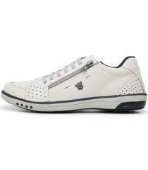 sapatenis casual click calçados em couro branco fechamento zíper e cardaço - kanui
