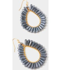tambria crystal trim teardrop earrings in chambray - chambray