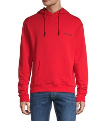 roberto cavalli men's logo-back hoodie - red - size l
