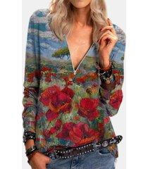 camicetta vintage a maniche lunghe con stampa floreale a fiori per donna