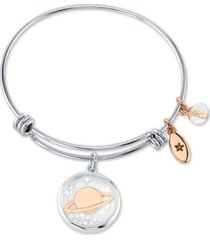 unwritten saturn crystal multi-charm bangle bracelet in stainless steel and rose gold-tone stainless steel silver plated charms