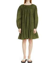 merlette siddal tiered long sleeve minidress, size large in olive at nordstrom