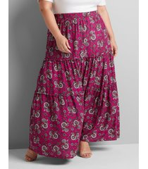 lane bryant women's floral tiered-seam maxi skirt 22/24 ditsy print