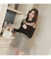 moda mujer camiseta cuello redondo manga larga camiseta slim lace retroceder