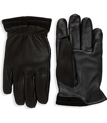 leather faux fur-lined tech gloves