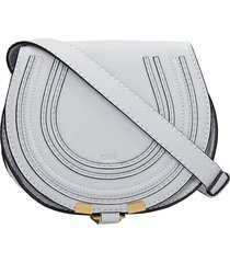chloé mini marcie shoulder bag in cyan leather