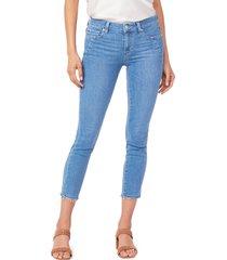 women's paige verdugo seam pocket frayed crop skinny jeans, size 33 - blue