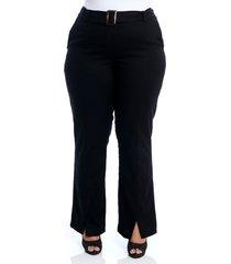 calça plus size cosma pantalona social linho preta