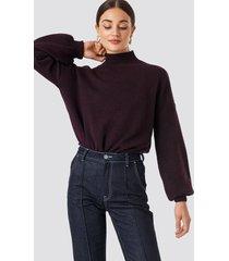 na-kd high neck balloon sleeve knitted sweater - burgundy