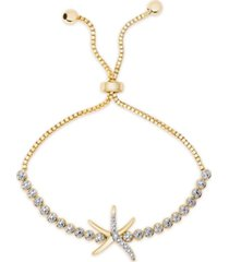 diamond accent starfish bolo adjustable bracelet in gold-plated brass