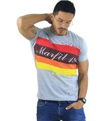 camiseta hombre manga corta slim fit gris marfil exclusive