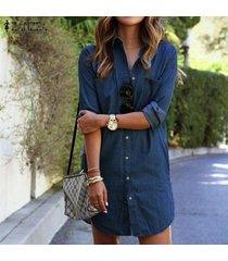 zanzea mujeres dril de algodón del mini vestido de las señoras del otoño flojo ocasional de manga larga botones bolsillos de la camisa de la vendimia vestidos vestidos (denim blue) -azul oscuro