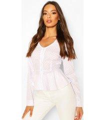 katoenen blouse met knopen en stippen, wit