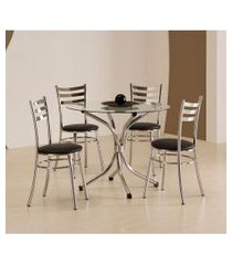 conjunto de mesa de cozinha redonda carmin cromado e preto
