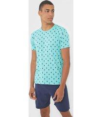pijama malwee liberta tropical verde/azul-marinho - verde - masculino - algodã£o - dafiti