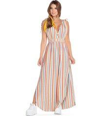 vestido largo para mujer estampado - multicolor atypical