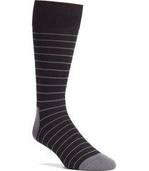 men's nordstrom men's shop ultra soft stripe socks, size one size - black