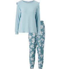 pyjamas med lång ärm och mönstrad byxa